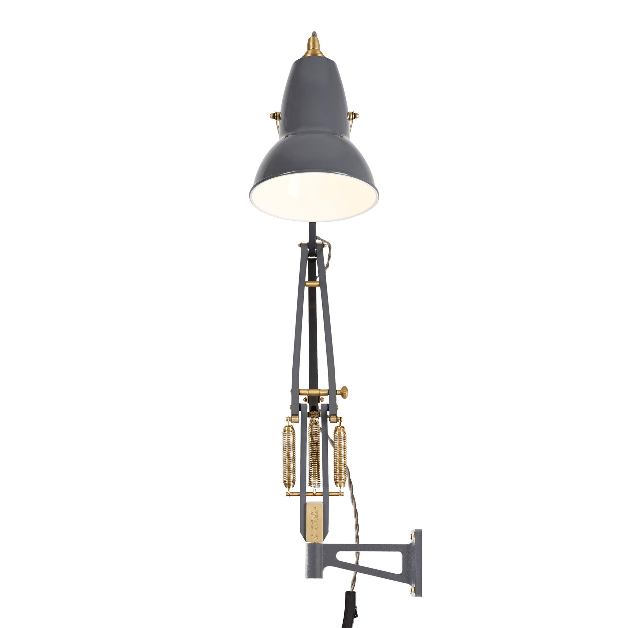 Original 1227 Brass Lamp With Wall Bracket Elephant Grey