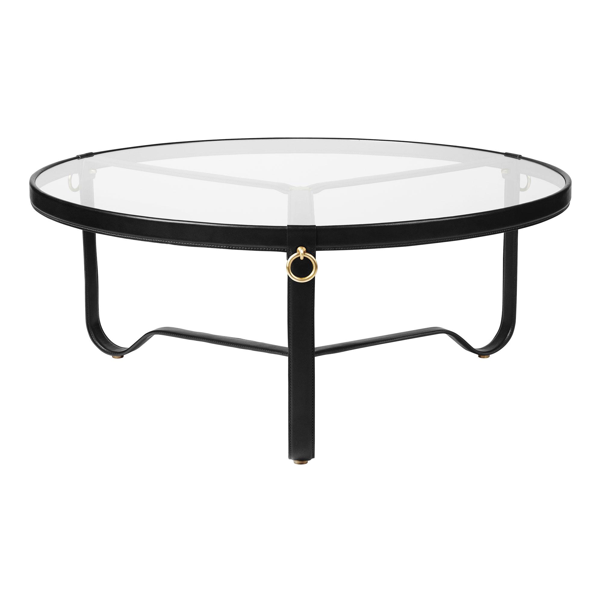 Adnet Coffee Table Ø100 Cm Gl Black Leather